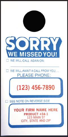 Free Sorry We Missed You Cards Templates by Door Hanger Sorry We Missed You American Business