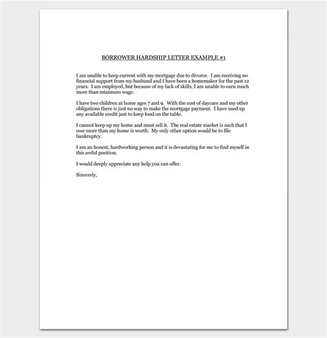 Credit Card Modification Letter Hardship Letter Template 10 For Word Pdf Format