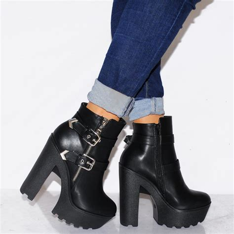 black high heel with ankle black pu leather ankle boots zip buckle detail