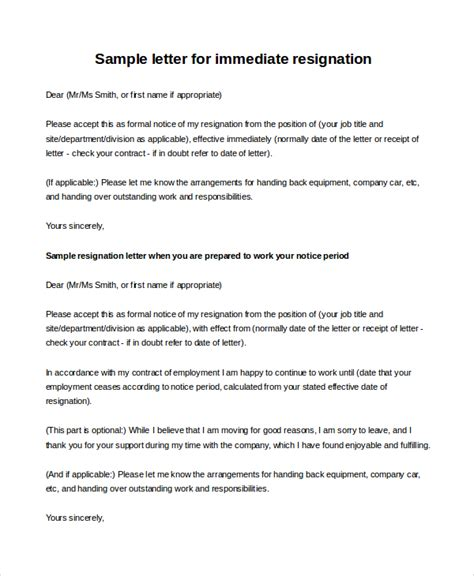 Immediate Resignation Letter To Employer Sle Resignation Letter 10 Exles In Pdf Word