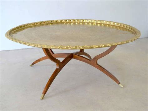 Mid Century Round Brass Tray Top Coffee Table For Sale At Large Tray For Coffee Table