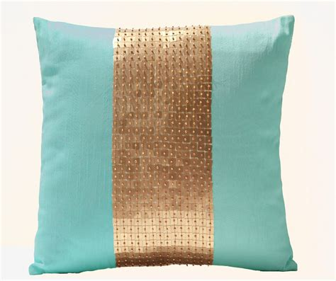 teal colored pillows teal pillow covers teal gold color block in silk and