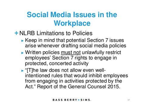 nlrb section 7 the complexities and challenges of social media in the