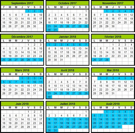 Calendriers Scolaires 2018 Calendrier Scolaire 2017 2018