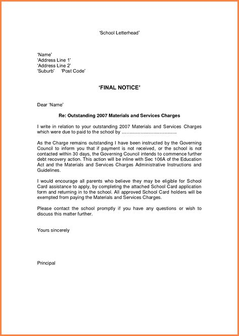 collections notice template 9 notice exle notice letter