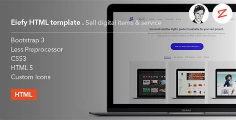 sell html templates eiefy html template for selling digital items services