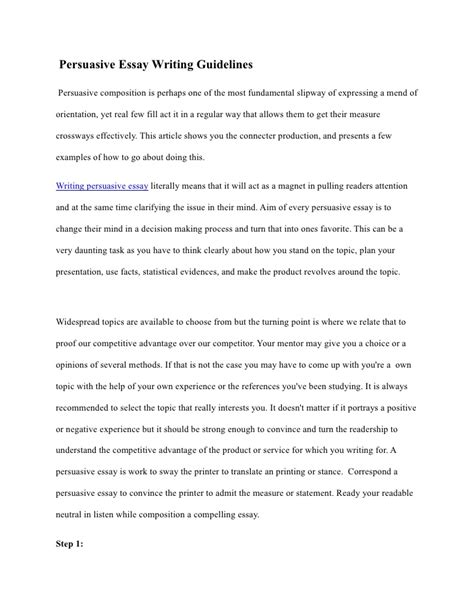 Writing My Essay by Persuasive Essay Writing Guidelines