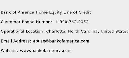 bank of america home equity line of credit customer