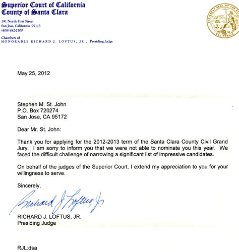 8 June 2012 Letter to District Attorney in San Jose