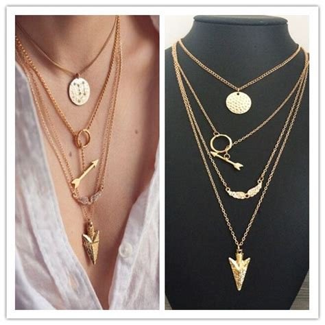 Layered Necklaces The Accessory by New Fashion Accessories Jewelry Arrow Multi Layer Necklace