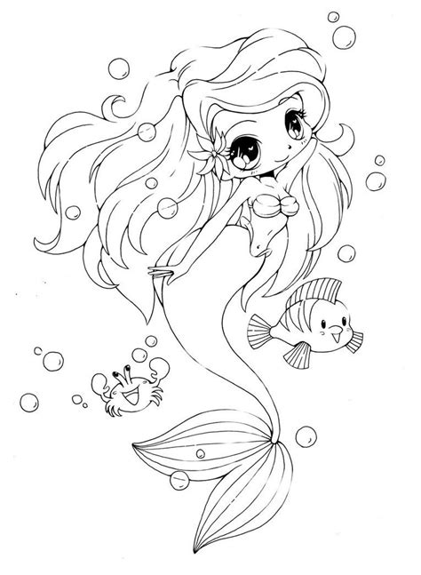 free kawaii mermaids coloring pages