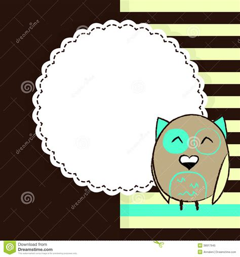 greeting card template with cute owl vector free download template for greeting card with cute fat owl stock vector