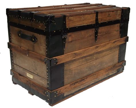 Natural Finish Antique Box Trunk Late 1800's   Omero Home