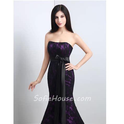 black prom dresses corset mermaid strapless corset purple satin black lace evening
