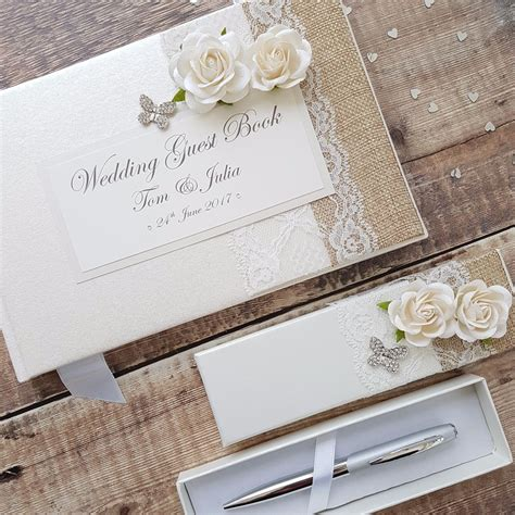 Handmade Wedding Guest Book - wedding guest book pen set handmade hessian lace