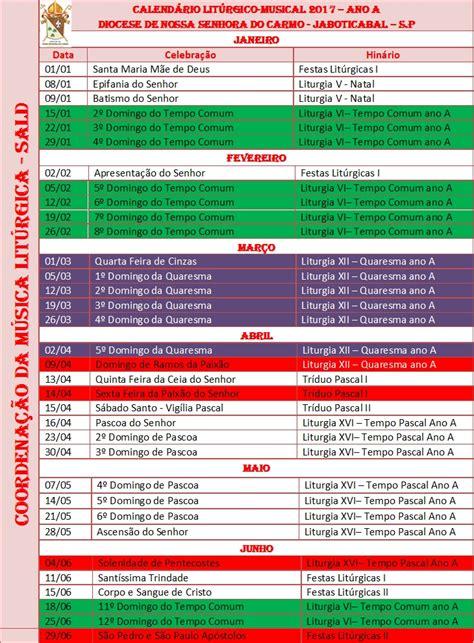 Calendario Liturgico 2017 M 250 Sica Lit 250 Rgica Calend 225 Lit 250 Rgico Musical 2017