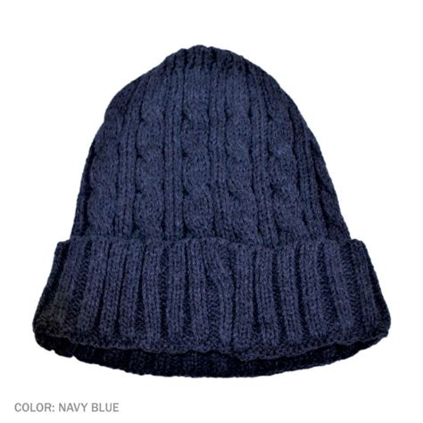 beanie hat knit b2b jaxon cable knit beanie hat navy blue beanies