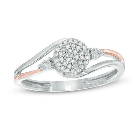 1 10 ct t w cluster promise ring in 10k two tone