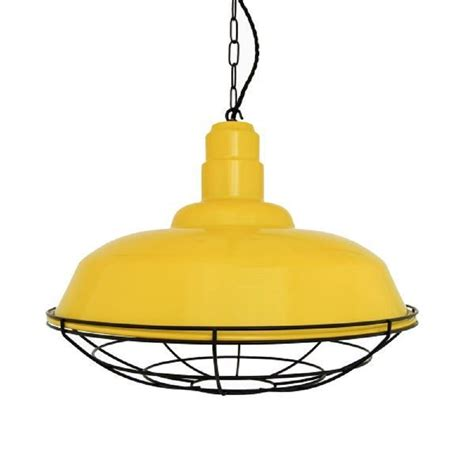 Industrial Pendant Lighting Uk Yellow Metal Ceiling Pendant Light Shade Industrial Style Black Cage