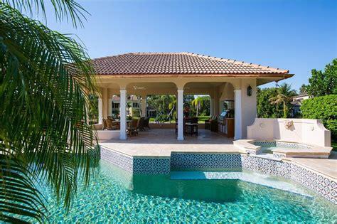 mediterranean pool mediterranean swimming pool with gazebo palm trees in