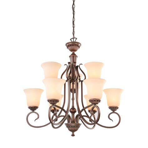 Bronze Chandelier Lighting Shop Portfolio Colton Lakes 31 25 In 9 Light Rubbed Bronze Mediterranean Tinted Glass Tiered