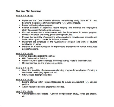 5 year business plan template free five year plan template business letter template
