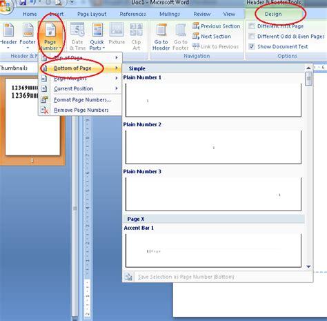 cara membuat halaman romawi dan angka pada word 2007 cara membuat nomor halaman otomatis di ms word