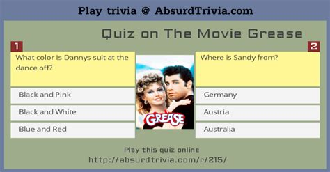 quiz film grease trivia quiz quiz on the movie grease