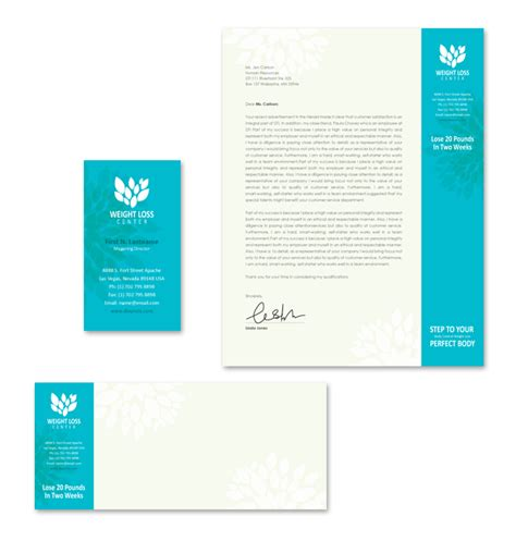 Weight Loss Center Stationery Kits Template Weight Loss Testimonial Template