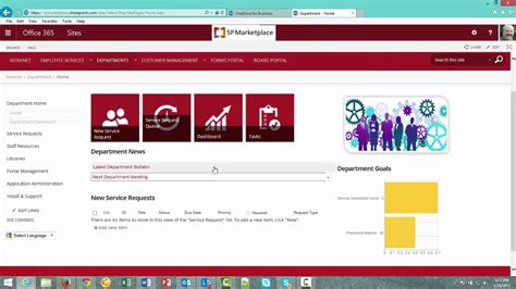 Office 365 Sharepoint Department Template Overview Youtube Sharepoint Home Page Templates