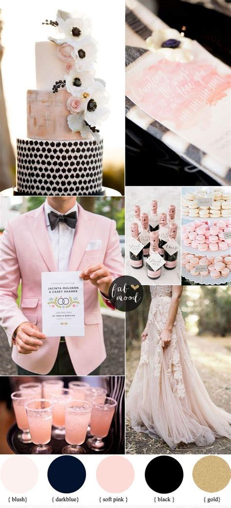 romantic color schemes black and blush wedding cake pictures to pin on pinterest