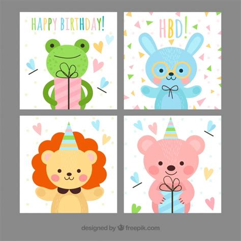 imagenes infantiles tarjetas tarjetas de cumplea 241 os infantiles con animales felices