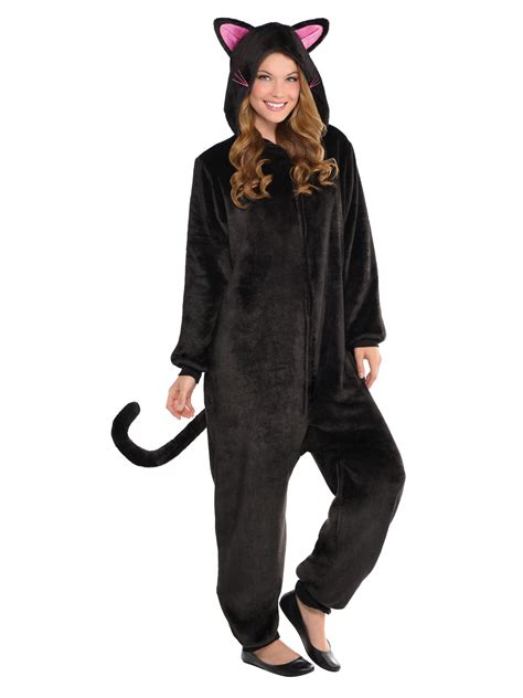Cat Costume black cat onesie costume for adults womens costumes for