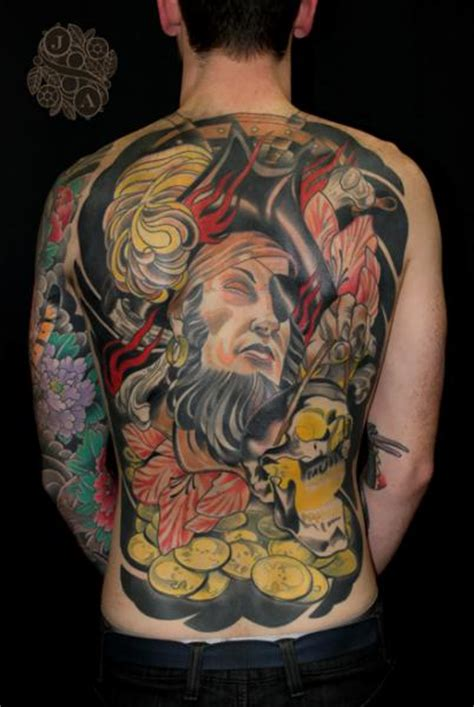 new back pirate tattoo by devils ink tattoo