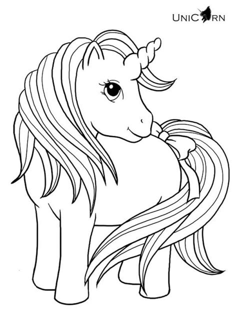 lovely baby unicorn  long hair  tail coloring page