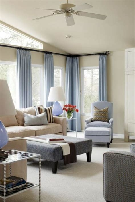 Blue And White Curtains For Living Room Cool Blue Living Room Ideas