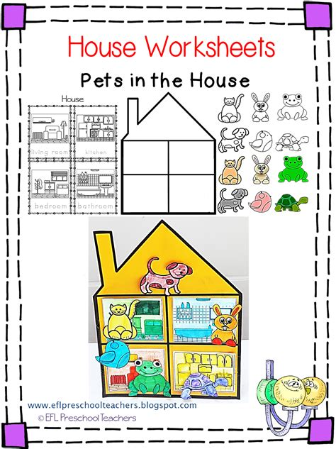 kindergarten activities my house esl efl preschool teachers house worksheets for the
