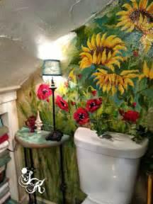 bathroom mural ideas painted flower mural in small bathroom hometalk