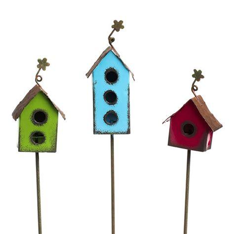 rustic metal birdhouse picks fairy garden miniatures