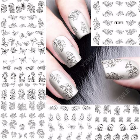 Nail Sticker Manicure Decoration Tatto 6 12 sheets black flower design nail water transfer decals nail sticker slider
