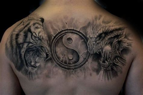 tattoo 3d yin yang 40 tiger dragon tattoo designs for men manly ink ideas