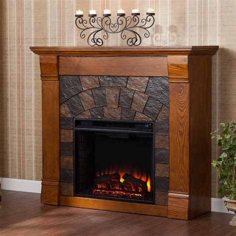 elkmont electric fireplace mantel package in antique oak