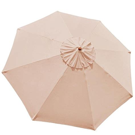 10ft 8 Ribs Umbrella Cover Canopy Tan Replacement Top Patio Umbrella Replacement Covers
