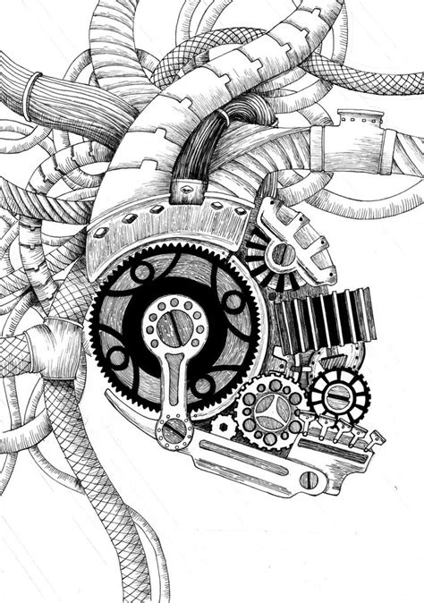 mechanic tattoo drawing mechanical heart by toxinbaby on deviantart