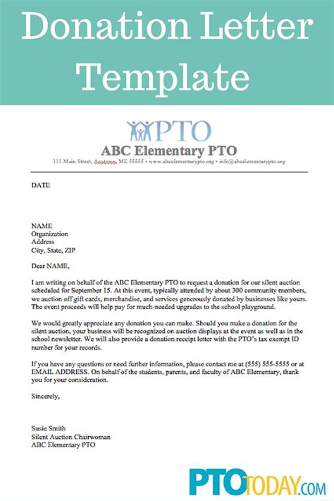Use This Template To Send Out Requests For Donations To Support Your Group Pto Pta Department Donation Request Letter Template
