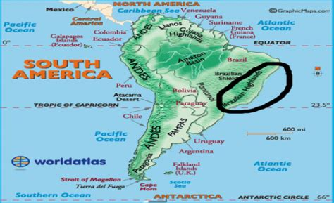 south america map highlands flashcards table on america physical features