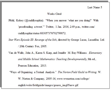 mla style bibliography the writing center