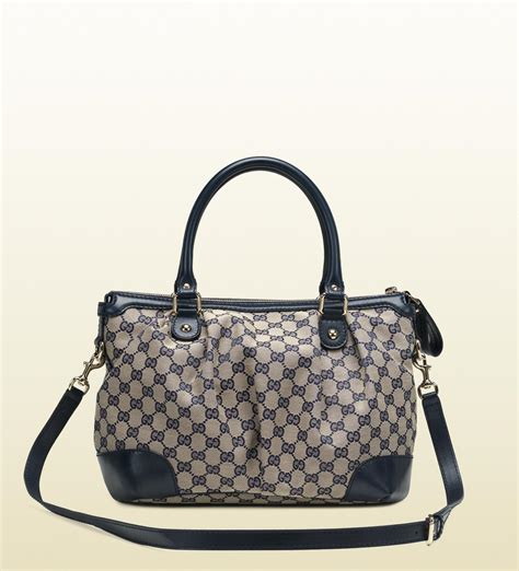 gucci sukey original gg canvas top handle bag in blue lyst
