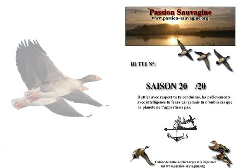 Cahier De Hutte by Sauvagine Chasse Canard Oie Chasse Gibier Deau