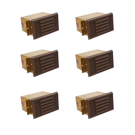 louvered light cover illumine matte bronze outdoor deck light box with small